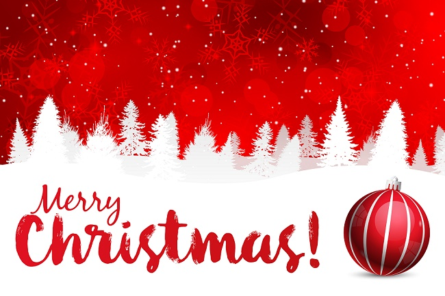 Merry Christmas! Red Background with White Snow Silhouette and Ornament