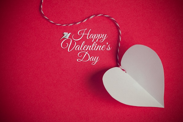 valentines day background with paper cut heart and greeting message